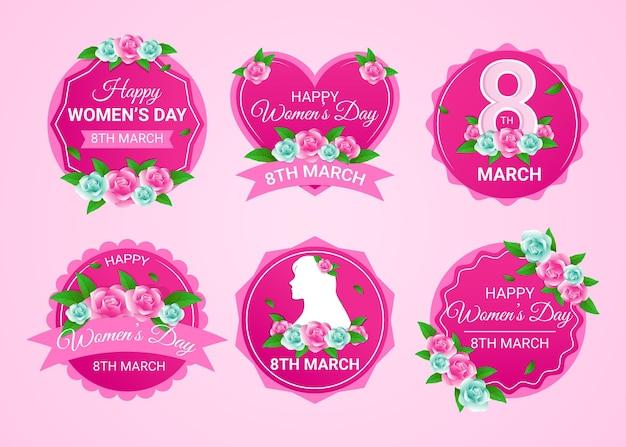 Etiquetas planas del día internacional de la mujer.