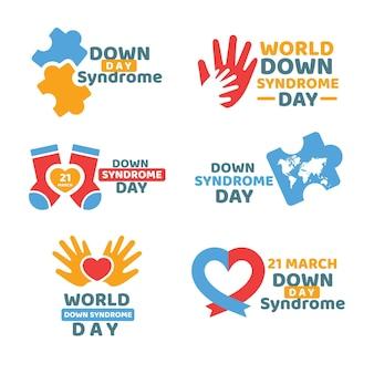 Etiquetas planas del día mundial del síndrome de down