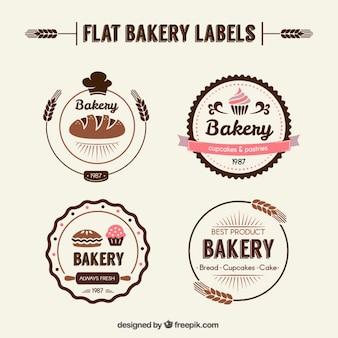 Etiquetas planas de panadería en estilo retro