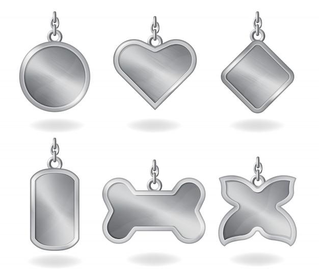 Etiquetas plateadas de metal realistas de diferentes formas