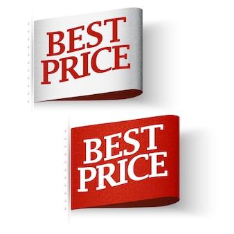Etiquetas de precio, conjunto de mensajes de mejor precio rojo y blanco