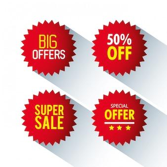 Etiquetas de precio, pancartas de colección de cinta roja, promoción de venta, pegatinas de sitios web, ofertas especiales