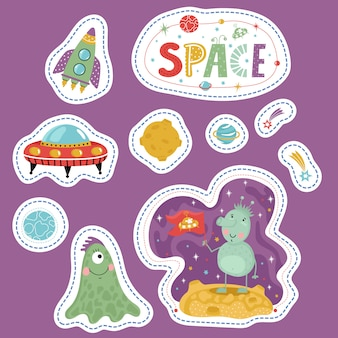 Etiquetas de precios de formas variadas con dibujos animados espaciales