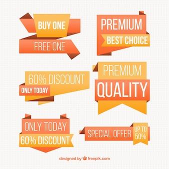 Etiquetas de precios en tonos anaranjados