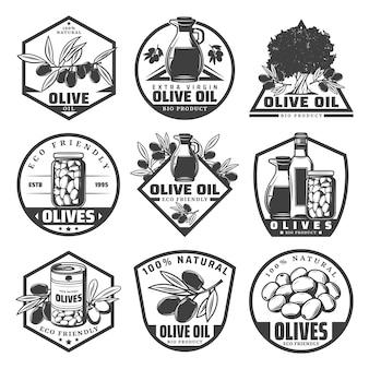 Etiquetas de productos ecológicos monocromos vintage con ramas de olivo botella tarro puede recipiente de vidrio aislado
