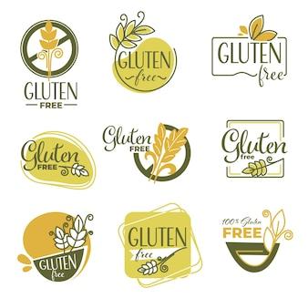 Etiquetas de productos sin gluten o emblemas dietéticos