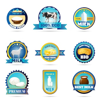 Etiquetas de productos lácteos de leche de granja ecológica