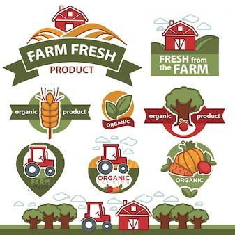 Etiquetas para productos del mercado agrícola.