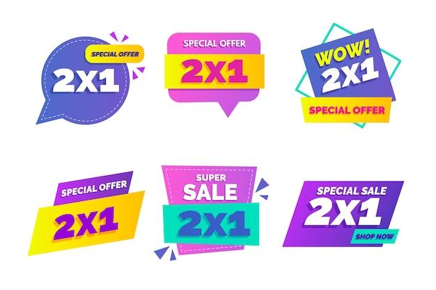 Etiquetas de promoción 2x1