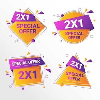Etiquetas promocionales con ofertas especiales