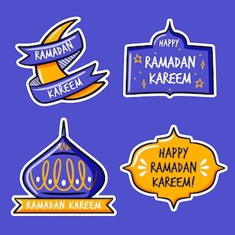Etiquetas de ramadán de diseño dibujado a mano
