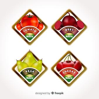 Etiquetas realistas de comida orgánica