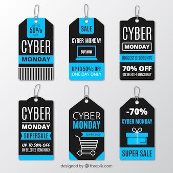 Etiquetas realistas de cyber monday
