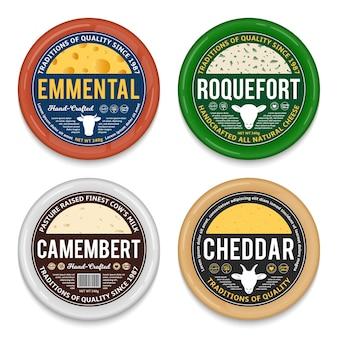 Etiquetas redondas de queso y elementos de embalaje.