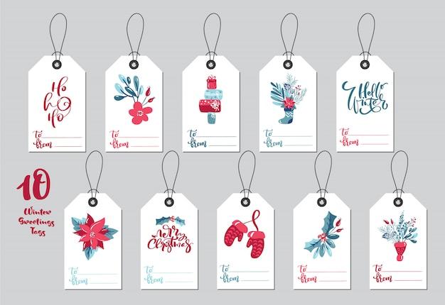 Etiquetas de regalo de feliz navidad de colección con texto de letras de caligrafía manuscrita
