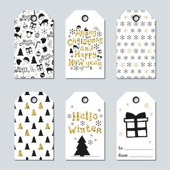 Etiquetas de regalo de navidad y año nuevo.