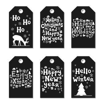 Etiquetas de regalo de navidad año nuevo.