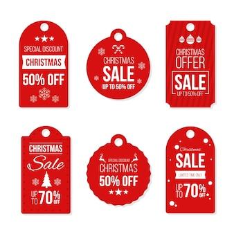 Etiquetas de regalo de navidad listas para usar de diseño plano