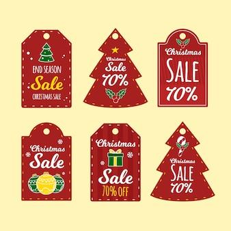 Etiquetas de regalo de navidad set dibujado a mano