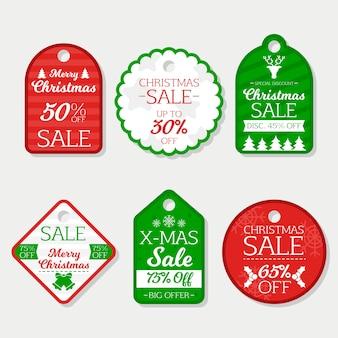 Etiquetas de regalo de navidad set diseño plano