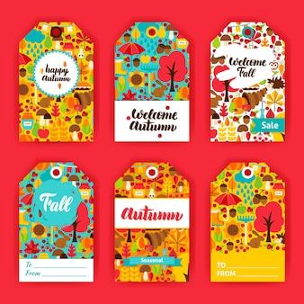 Etiquetas de regalo de otoño. ilustración vectorial del concepto estacional de otoño. diseño de placa imprimible.