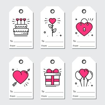 Etiquetas de regalo de san valentín