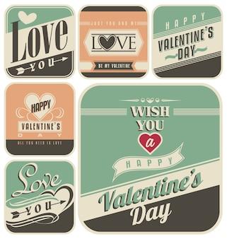 Etiquetas retro para el día de san valentín. vector vintage amor carteles, pancartas y colección de anuncios.