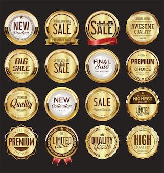 Etiquetas retro vintage doradas y negras