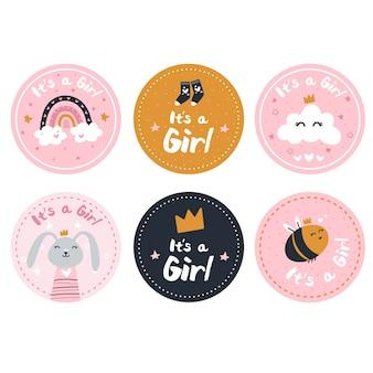 Etiquetas de revelación de género de una niña