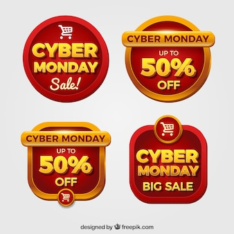 Etiquetas rojas de cyber monday