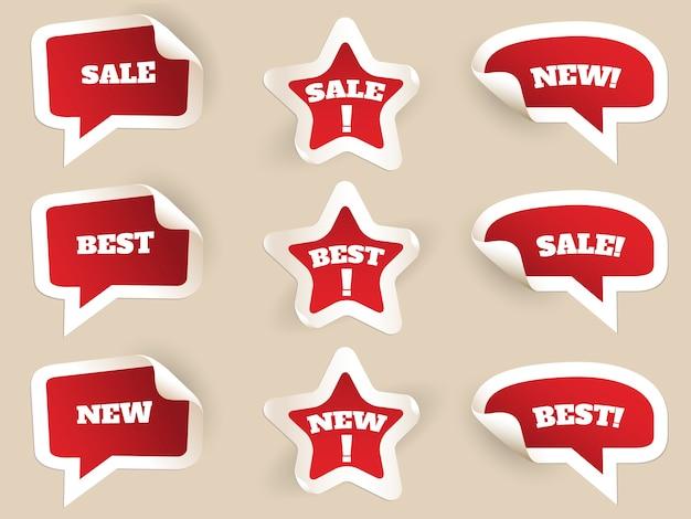 Etiquetas rojas. nuevo, mejor y en venta. juego de pegatinas por consumismo. ilustración vectorial