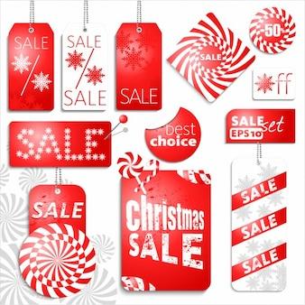 Etiquetas rojas para las rebajas de navidad