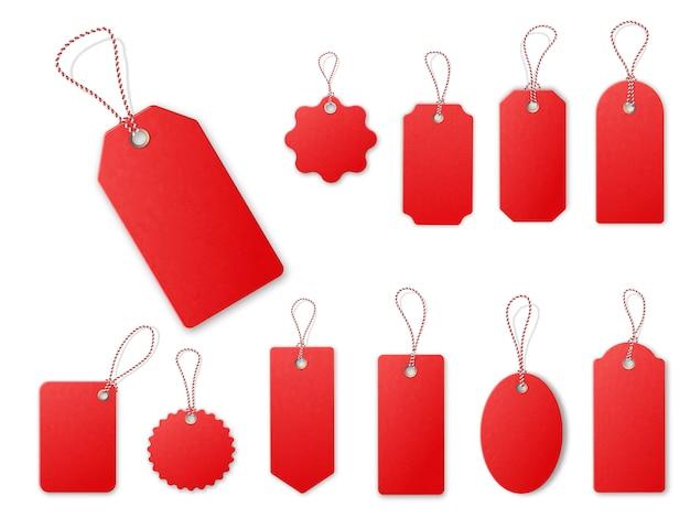 Etiquetas rojas de venta.