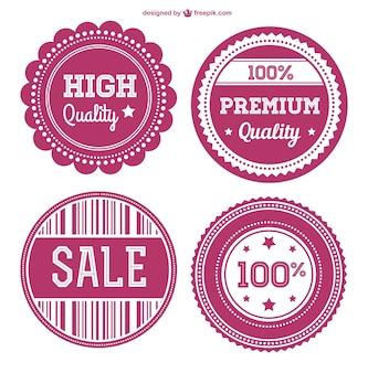 Etiquetas rosas comerciales