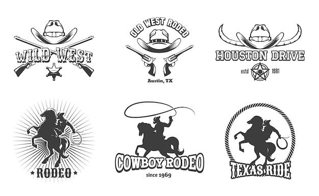 Etiquetas del salvaje oeste y del rodeo. cowboy texas, sello y sombrero, diseño retro americano.
