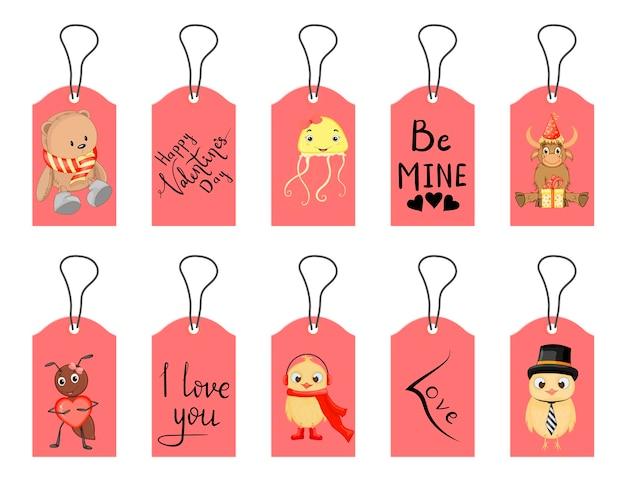 Etiquetas de san valentín. estilo de dibujos animados. ilustración vectorial.