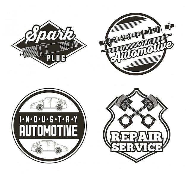 Etiquetas de servicio automotriz de la industria