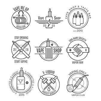 Etiquetas de la tienda vape y logotipo de la barra de vapor.