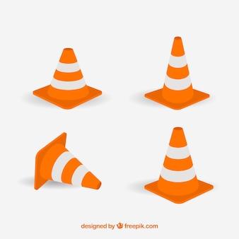 Etiquetas tráfico cono naranja