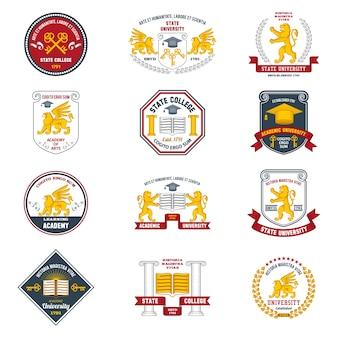 Etiquetas universitarias de colores