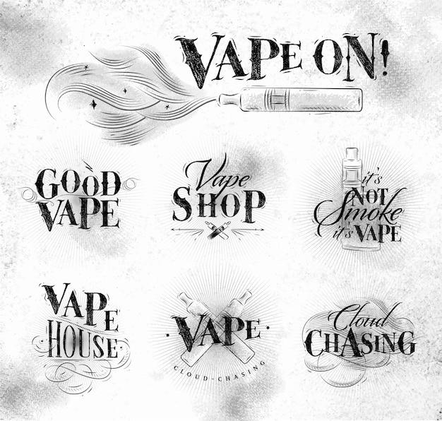 Etiquetas de vape en letras de estilo vintage