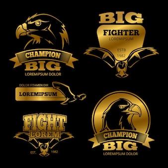 Etiquetas de vector de heráldica de águila dorada brillante, logotipos, emblemas en la ilustración de fondo negro