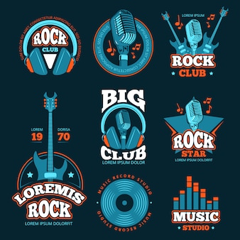 Etiquetas de vectores de producción de estudio de música vintage