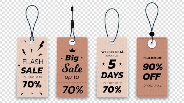 Etiquetas de venta colgantes de cartón realistas. conjunto de etiquetas de venta de papel aislado.