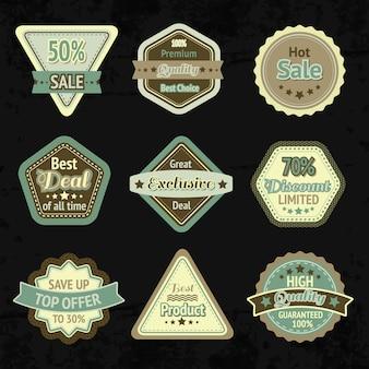 Etiquetas de venta y diseño de distintivos para el mejor precio, alta calidad y trato exclusivo y aislado.