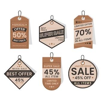 Etiquetas de venta de diseño plano con ofertas especiales.