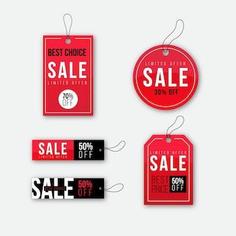 Etiquetas de venta de diseño plano