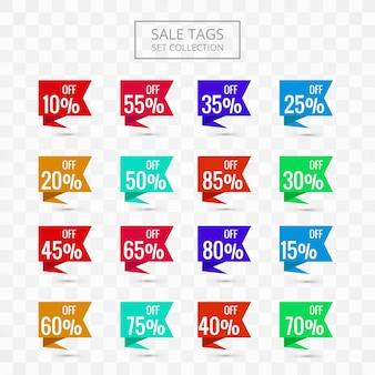 Las etiquetas de venta establecen un diseño colorido de la colección