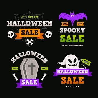 Etiquetas de venta de halloween de diseño plano