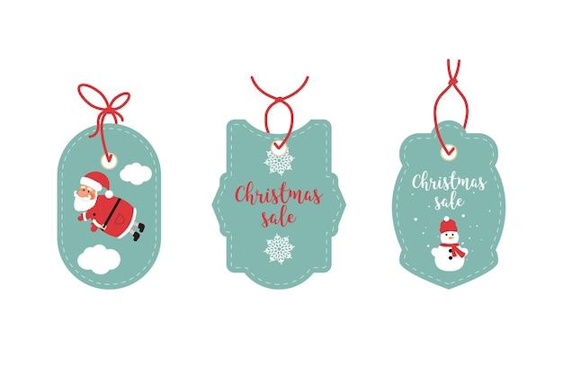 Etiquetas de venta minorista y etiquetas de liquidación. diseño festivo de navidad papá noel, copos de nieve y muñeco de nieve